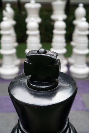 Giant garden chess pieces chessboard Фото со стока