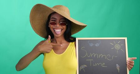 Bright summer portrait of beautiful smiling woman in yellow swimsuit, hat and red sunglasses holding chalk board with Summer time writing isolated over green screen background