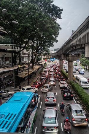 High angle view of city traffic and subway station in Kuala Lumpur, Malaysia