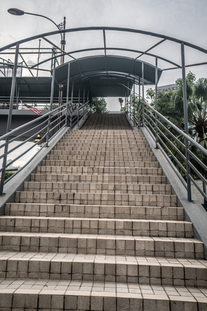 Bottom view of stairs in entrance of metro station