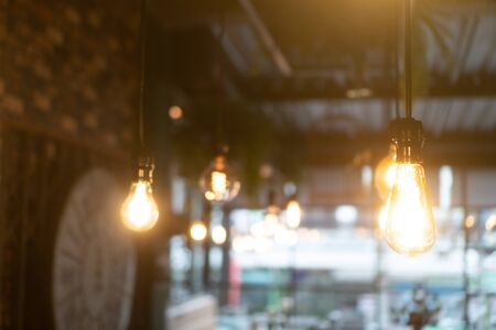 Decorative antique edison style light bulbs in restaurant or coffee shop