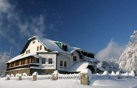 icey: Chalet hut Stock Photo