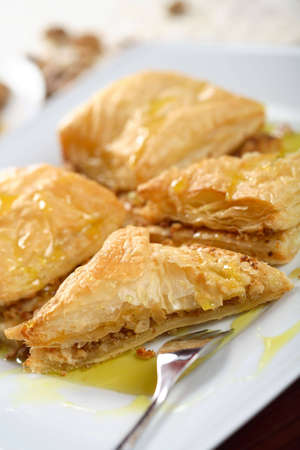 european cuisine: Bulgarian baklava made from french cake and nuts