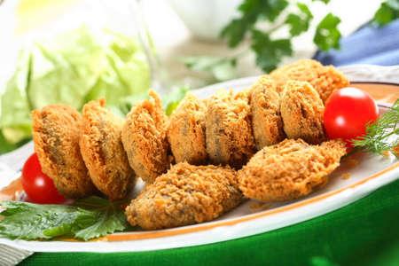 breadcrumbs: Oven mushrooms in breadcrumbs Stock Photo