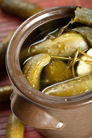 european cuisine: Tasty homemade pickled in the big jug
