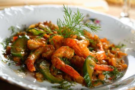 european cuisine: Shrimps with oven vegetables