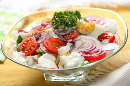 arranged: Mixed salad on the dish
