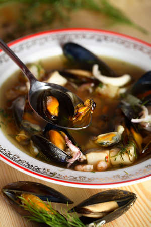 Fish soup with dill photo