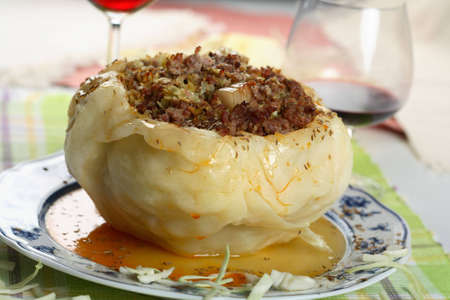 mince: Stuffed cabbage with mince Stock Photo