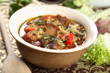 Goulash made from veal and rice photo
