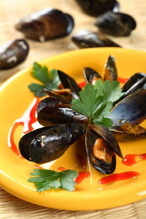 Oven seafood in shells photo