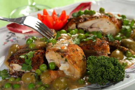 arranged: Chicken with peas Stock Photo