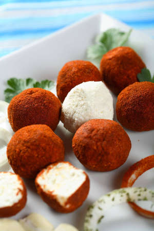 Appetizer made from cottage cheese photo