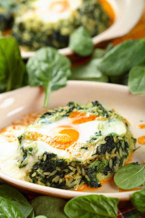 fired egg: Fired egg with spinach