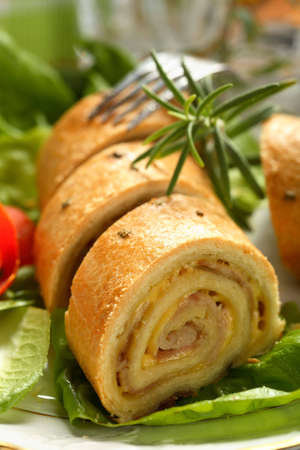 albumen: Roulade made from beckon and cheese