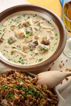 buckwheat: Soup with chicken and buckwheat groats Stock Photo