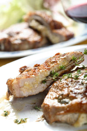 albumen: Cutlet with cheese Stock Photo