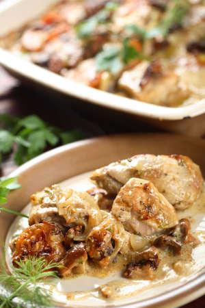albumen: Chicken with mushrooms Stock Photo