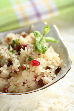 raisins: Rice with nuts and raisins Stock Photo
