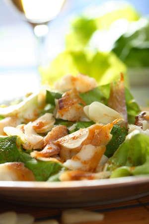 Fish with salad photo