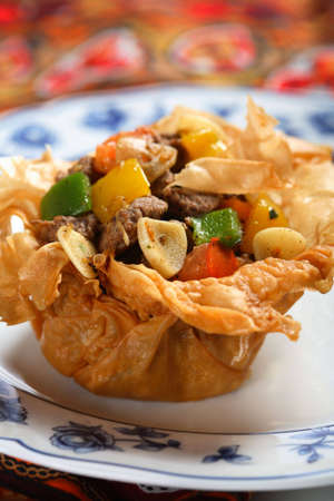 arranged: Beef with vegetables and ginger