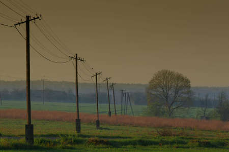 acre: Pylons on the acre in the winter day Stock Photo