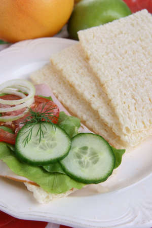 dietetic: Dietetic bread with onions slices and cucumber