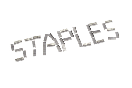 office stapler: staples word from staples