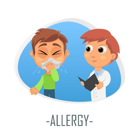 Allergy medical concept. Vector illustration. Doctor and patient are talking in the hospital. Isolated on white background. Illustration