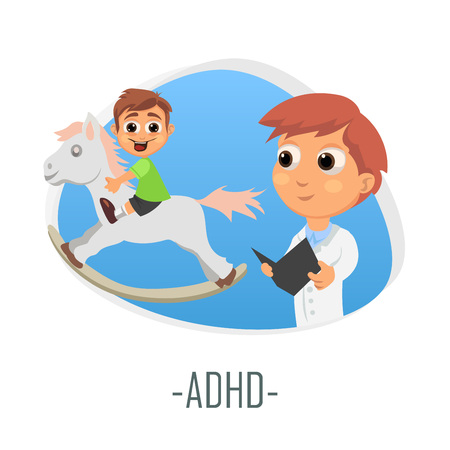 ADHD medical concept. Vector illustration. Doctor and patient are talking in the hospital. Isolated on white background. Illustration