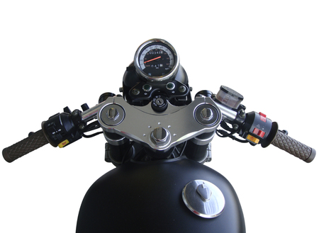 handlebars: The view over the handlebars of motorcycle
