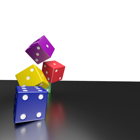 color dice , clipping path,3d rendering