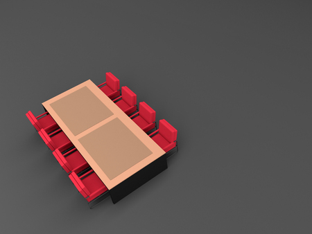 table and red chair , 3d rendering 스톡 콘텐츠