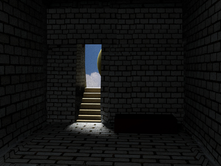Resurrection of Jesus Christ. Religious Easter background, with strong light rays shining through the entrance into the empty stone tomb, 3d rendering