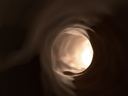 A light in the end of a tunnel, 3D rendering
