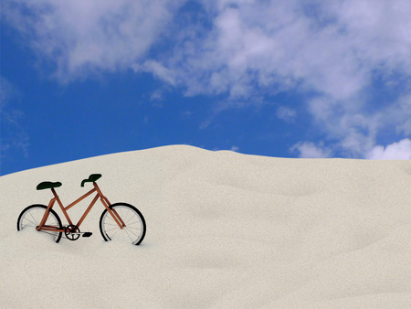 bicycle on the sand, 3D rendering Archivio Fotografico