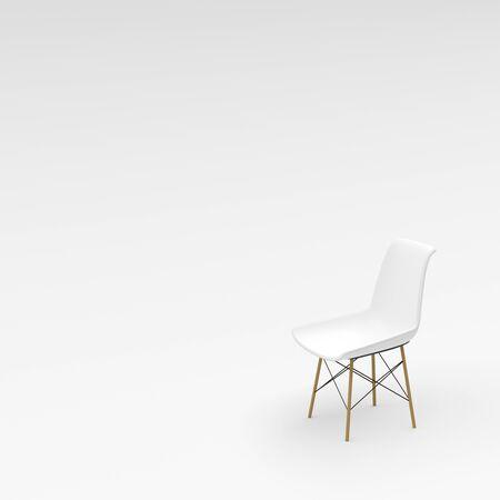 chaise blanche sur fond blanc, rendu 3D