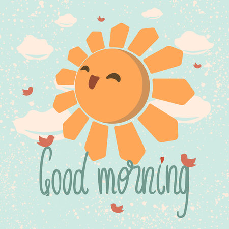 """vector illustration of smiling sun in positive attitude with """"Good morning"""" text"""