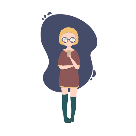 vector isolated illustration of girl chatting on smartphone
