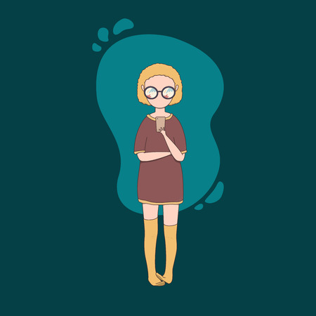 vector isolated illustration of girl chatting on smartphone Illustration