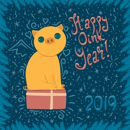 vector new year card with yellow pig sitting on present box and with lettering