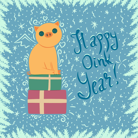 vector new year card with yellow pig sitting on present boxes and with lettering
