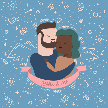 vector illustration of couple in hugs Ilustração