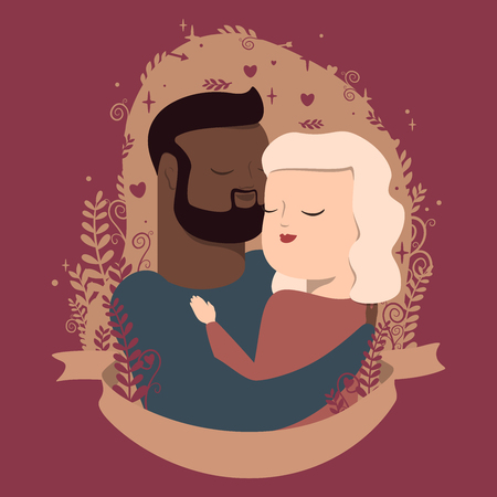 vector illustration of couple in hugs