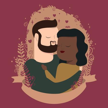 vector illustration of couple in hugs Иллюстрация