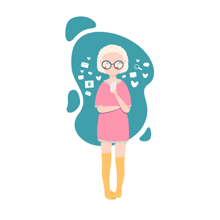 Vector illustration of the girl chatting on the phone, isolated on the white background