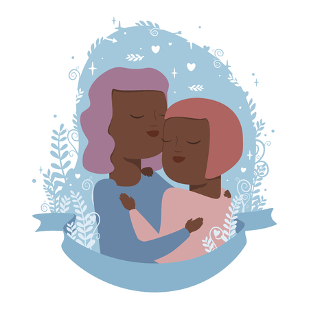 Vector illustration of homosexual  love couple in hugs on blue background with flowers and hearts. Isolated on white background.