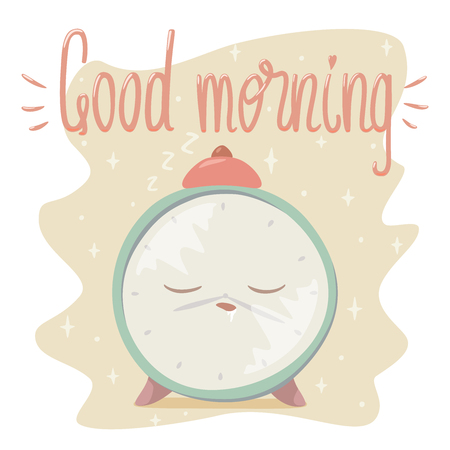 Vector illustration of sleeping alarm clock with Good Morning lettering. Isolated on white background. Ilustração