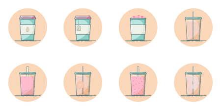 Vector set of beverage icons. Soft drink for take away. Hot - coffee, tea, cocoa, chocolate. Cold - lemonade, soda pop, smoothie, bubble tea, ice tea. Icons in circle. Illustration