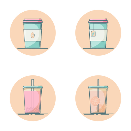 Vector set of beverage icons. Soft drink for take away. Hot - coffee, tea. Cold - lemonade, bubble tea. Isolated in circle. Flat design.